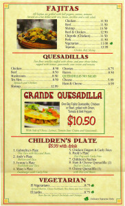 Fajitas, Quesadillas, Children, Vegetarian