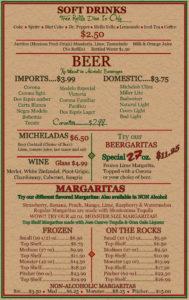 Soft Drinks, Beer, Wine, Margaritas