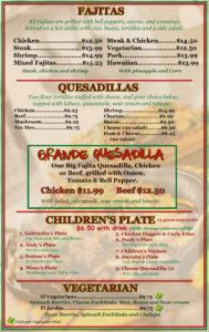 Fajitas, Quesadillas, Children, Vegetarian