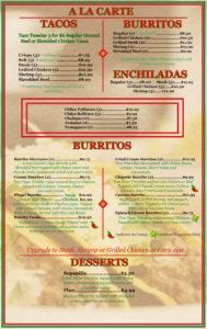A La Carte, Burritos, Desserts